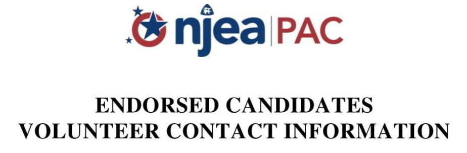 NJEA PAC Releases Endorsement of Candidates